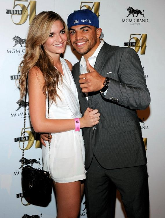 Victor Ortiz and Girlfriend Alexia Garland on Red Carpet at Studio 54, Las Vegas