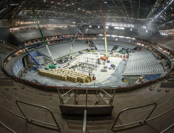 Viewpoint from first seats installed at T-Mobile Arena