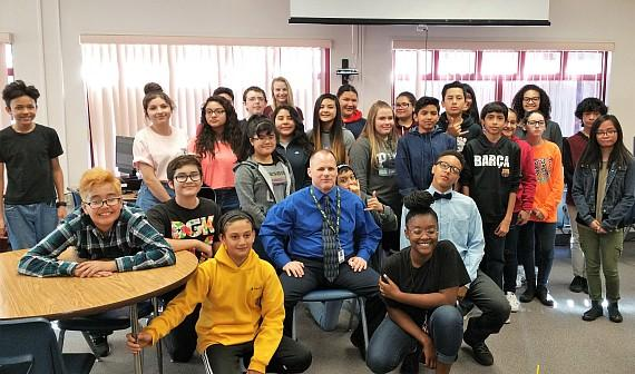 Teacher Robert Cuccurullo and Caitlyn Gaddi's class