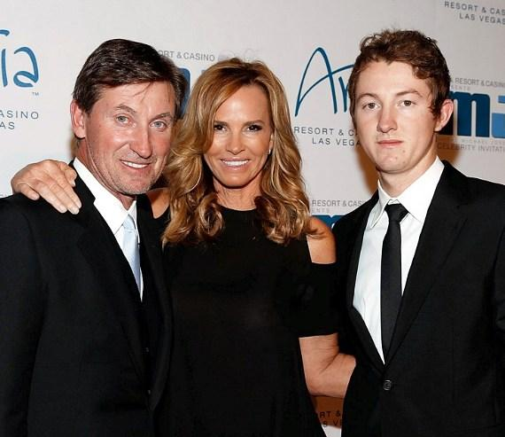 Wayne Gretzky, Janet Jones-Gretzky and Trevor Gretzky  on red carpet at MJCI Gala at ARIA Resort & Casino