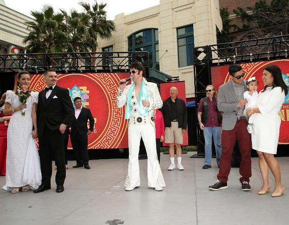 Elvis Officiates Mass Wedding Ceremony on Valentine's Day for 12 Couples at The LINQ Promenade