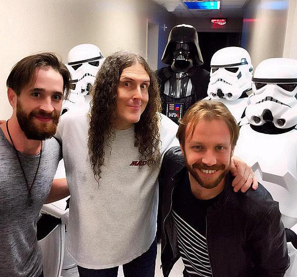 "Daniel Platzman and Ben McKee of Imagine Dragons attend ""Weird Al"" Yankovic's show at Planet Hollywood Resort and Casino"