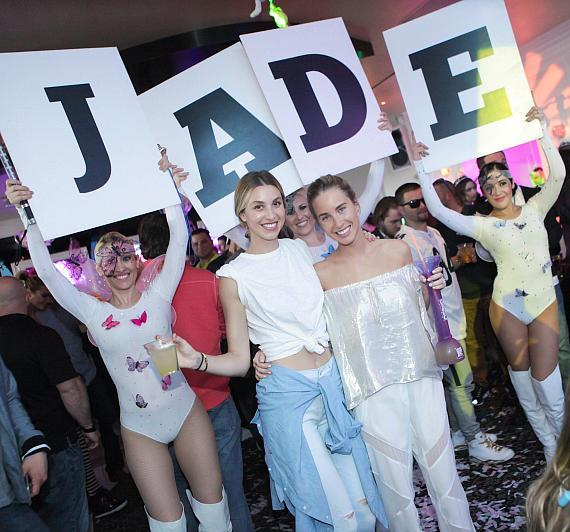 Whitney Port (L) and smiles with sister Jade at her bachelorette party