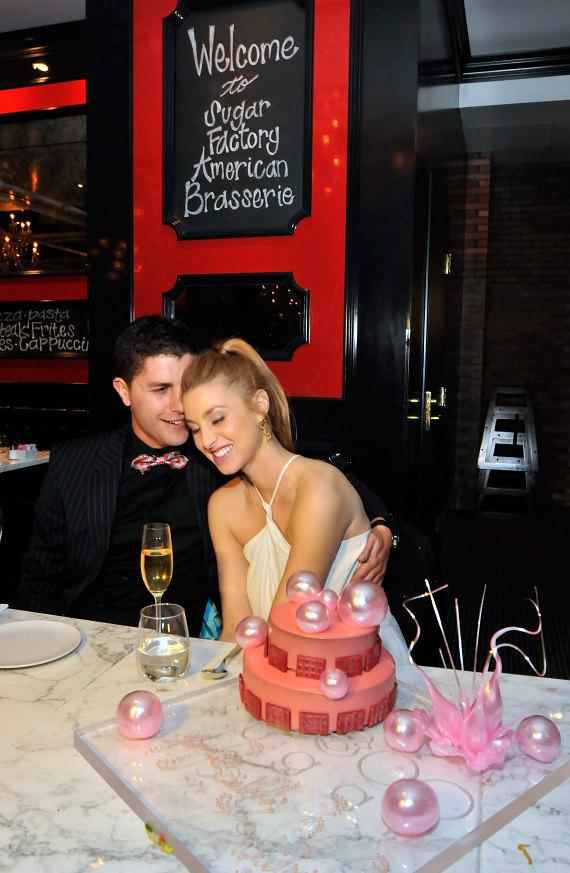 Whitney Port and boyfriend Ben Nemtin with birthday cake at Sugar Factory American Brasserie