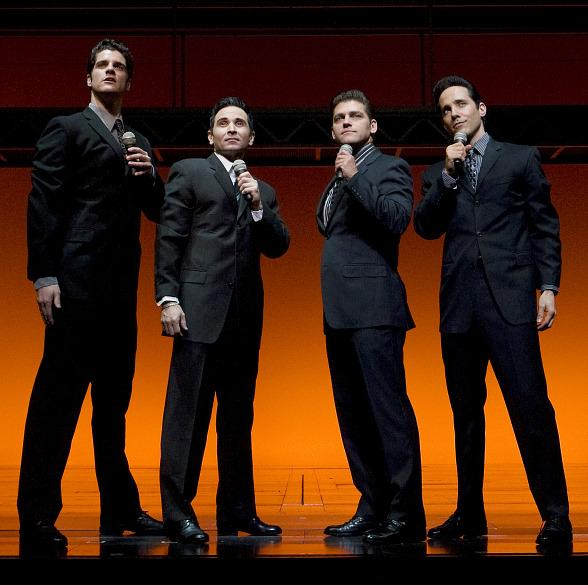 Peter Saide, Travis Cloer, Deven May and Jeff Leibow in JERSEY BOYS Las Vegas