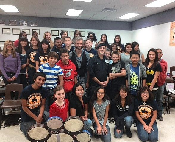 William Close and Joe Castillo with Canarelli Middle School choir class
