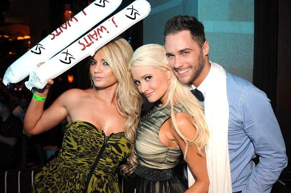 Angel Porrino, Holly Madison and Josh Strickland at XS