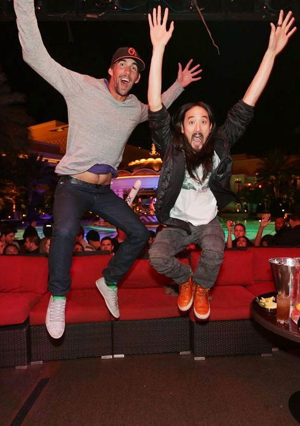 Michael Phelps Perfects his DJ Skills Alongside Steve Aoki at XS Nightclub