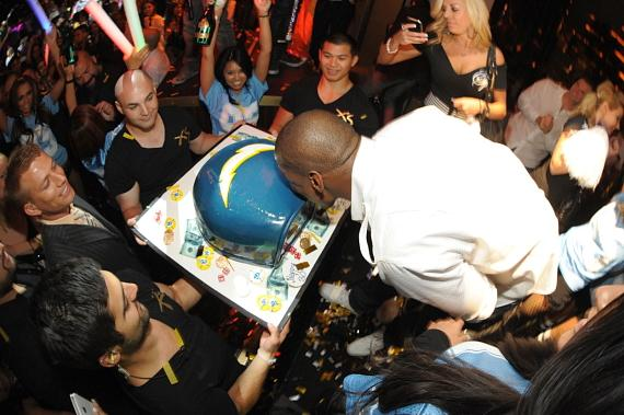 Shaun Phillips with cake at XS