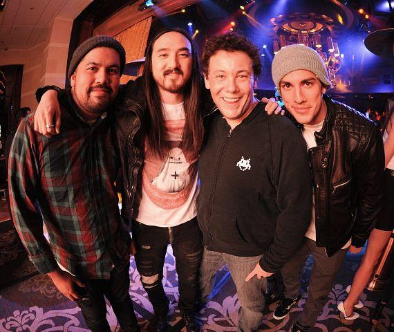 Friend, Steve Aoki, DJ Joachim Garraud, and Vampire Diaries' Michael Trevino