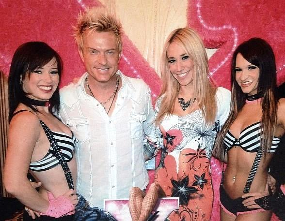Zowie Bowie's Chris Phillips and Lydia Ansel attend X Burlesque at Flamingo Las Vegas