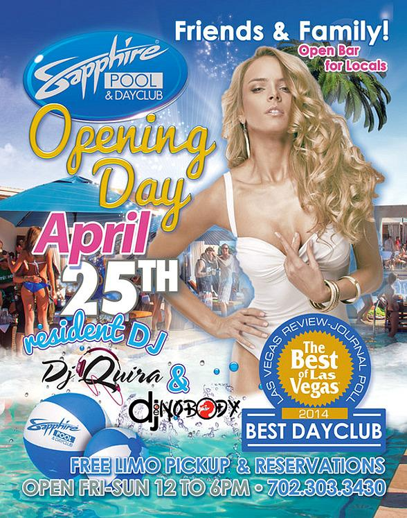 Sapphire Pool & Day Club Opens its Summer Season on Friday April 25, 2014