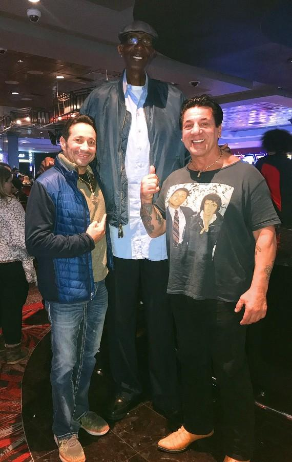 Actor Chuck Zito and stunt double Pete Antico at the D Casino Hotel Las Vegas with Tallest Man George Bell