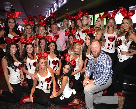 Actor Mac Brandt and Casino Owner Derek Stevens pose with Miss D Bunny Contestants at The D Las Vegas