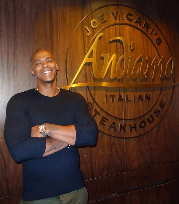 "Actor Mehcad Brooks (Jimmy Olsen on CBS hit show ""SuperGirl"") visits Andiamo Italian Steakhouse and the D Las Vegas"