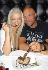 "Actor/MMA Legend Randy ""The Natural"" Couture and Actress Mindy Robinson dine at Andiamo Italian Steakhouse inside the D Casino Hotel"