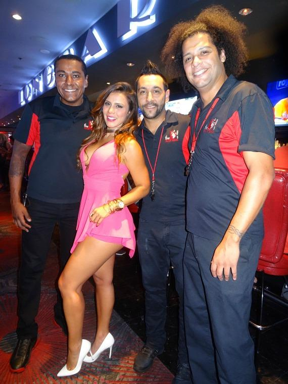 Andrea Rincon with Flair Bartenders at the D Casino Hotel in Las Vegas