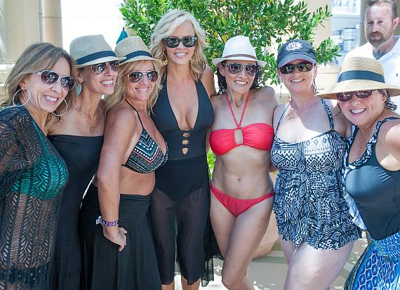 Jenny McCarthy with  fans at Azure Luxury Pool