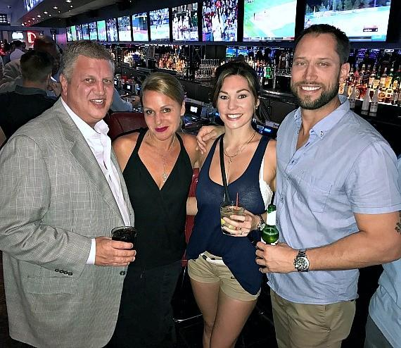 """Owner Derek Stevens and his wife Nicole with Brianne Alise and """"The Bachelor"""" David Good at The D Las Vegas"""