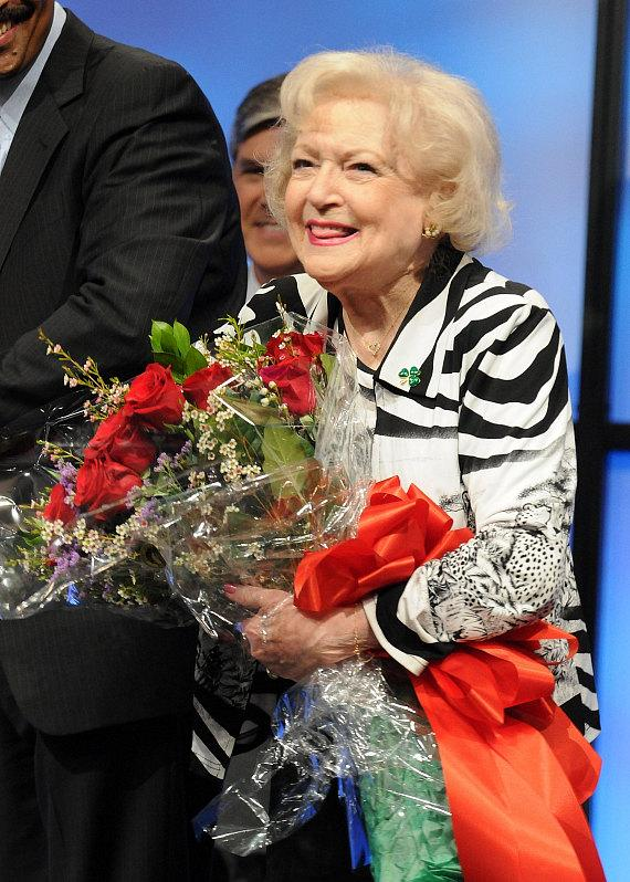 Betty White with flowers at NAB Show