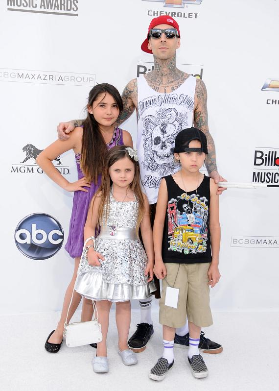 Travis Barker and children Atiana de la Hoya, Landon Barker and Alabama Barker