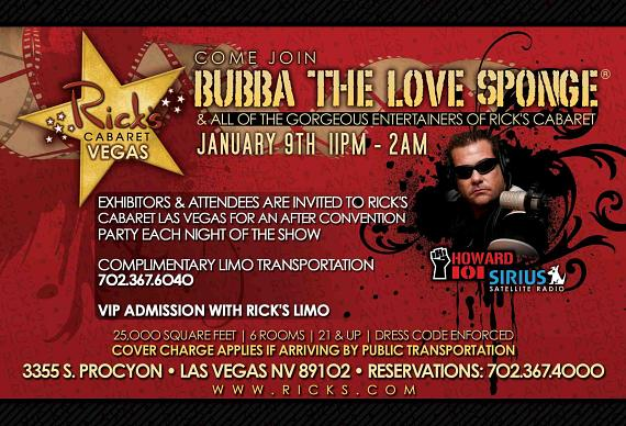 """Bubba the Love Sponge"" host a party at Rick's Cabaret Las Vegas on Jan. 9"