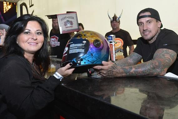 Carey Hart with lucky fan at D Bar Las Vegas