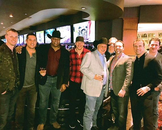 Casino Owner Derek Stevens and Former NHL Player Darren Banks with Florida Panthers Coaching Staff and CEO at The D Las Vegas