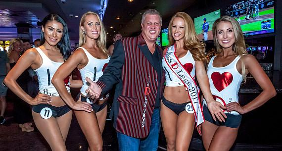 Casino Owner Derek Stevens with Winner Sam Adams and Second, Third and Fourth Place Finalists of the Miss D Legs 2017 contest at The D Casino Las Vegas