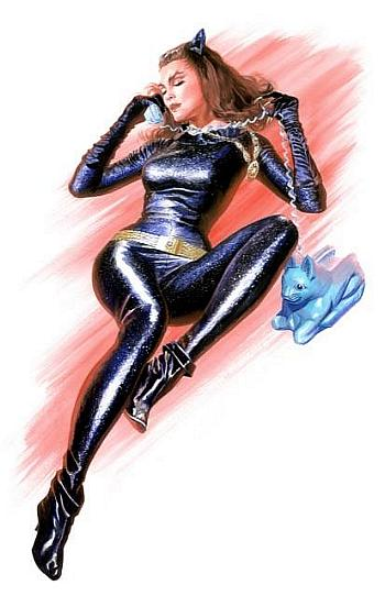 Limited edition canvas of Julie Newmar at Catwomen by famed comic artist, Alex Ross