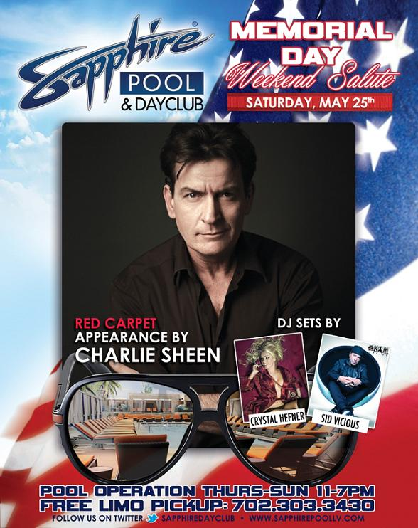 Charlie Sheen, Sid Vicious, Crystal Hefner to Appear at Sapphire Pool & Day Club on May 25