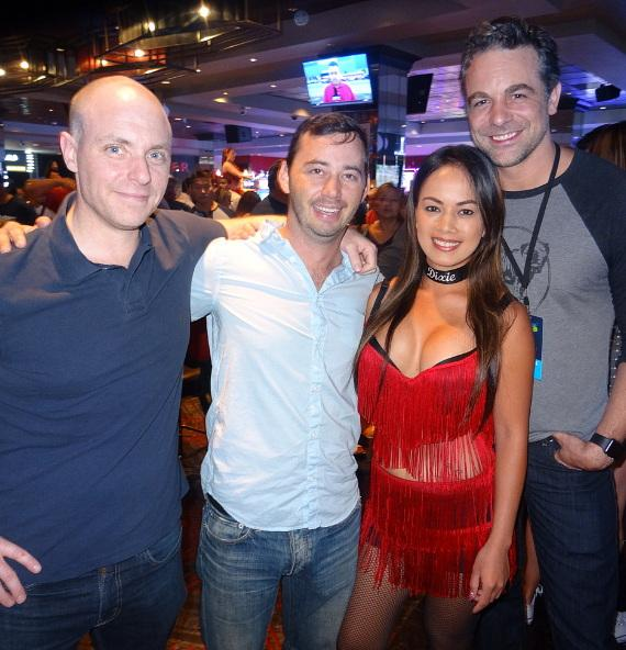 Chris McKenna, Jeremy Cohenour and Tony Casale with the D Casino Hotel Dancing Dealer