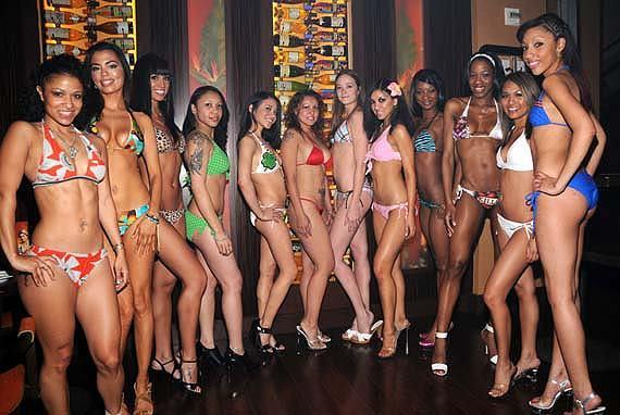 Contestants prepare for MMA Ring Girl contest (Photo Courtesy of Scott Harrison / RETNA)