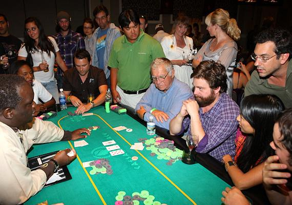Zach Galifianakis and dad Harry at 'The Hangover' Poker Tournament at Caesars Palace