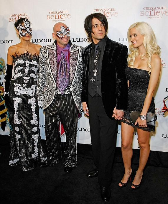 Claudia Barilla, Guy Laliberte, illusionist Criss Angel and Holly Madison arrive at the premiere of 'Criss Angel Believe' by Cirque du Soleil (Photo by Ethan Miller/Getty Images for Cirque du Soleil)