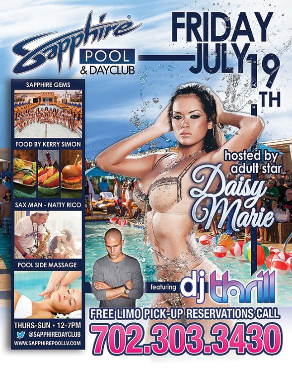Party with Actress Daisy Marie and DJ Thrill at Sapphire Pool & Dayclub Friday, July 19