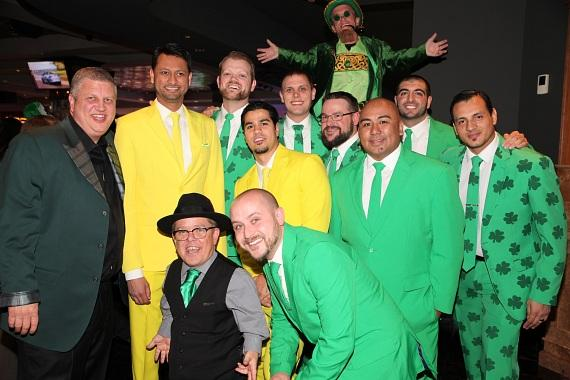 The D staff with owner Derek Stevens and reality star Shorty Rossi at the D Las Vegas Longbar on St. Patrick's Day