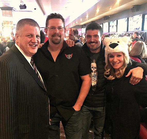 "Owner Derek Stevens, John ""Tig"" Tiegen, Kris ""Tanto"" Paronto and Nicole Parthum at the world famous LONGBAR inside the D Casino Hotel Las Vegas"