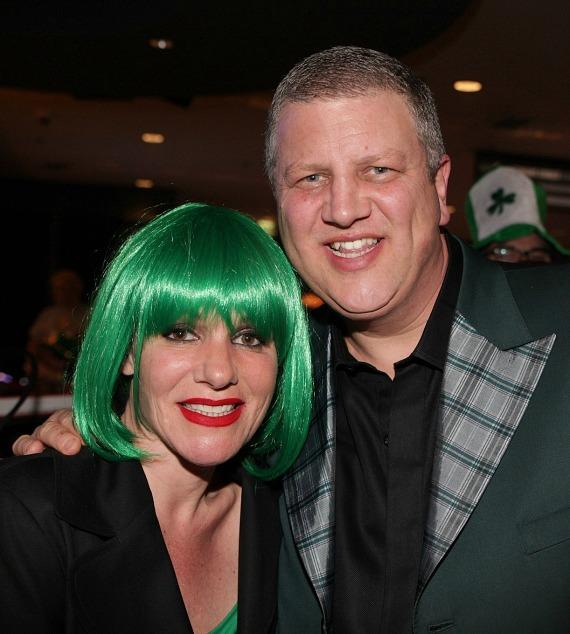 Derek Stevens and wife Nicole Parthum at The D Las Vegas on St. Patrick's Day