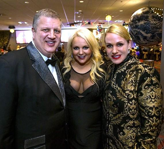 Derek Stevens (l), daughter Whitney (c) and wife Nicole Parthum at the D Casino Hotel in Las Vegas
