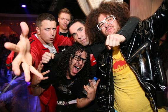 DJ Hollywood, DJ Ikon, friend Chuck Riccio, LMFAO at PURE Nightclub (Photo credit: PURE Nightclub)