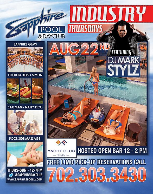Sapphire Pool & Dayclub to Host Exotic Dancer Magazine Pre-Closing Cocktail Party Thursday, August 22