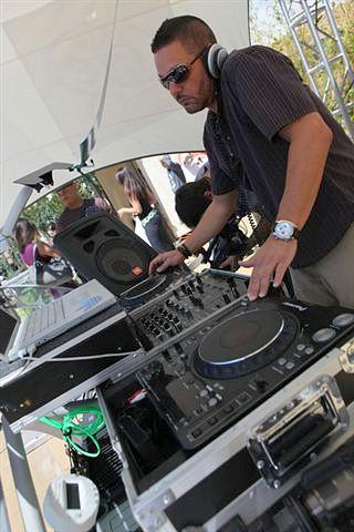 DJ Rob in solar-powered DJ booth