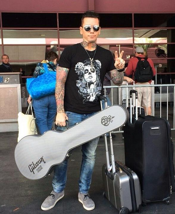 Guns N Roses Guitarist Dj Ashba Spotted at McCarran Airport in Las Vegas