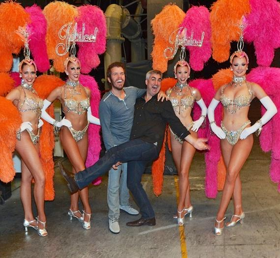 Taylor Hicks and Perez Hilton with Jubilee! showgirls at Bally's Las Vegas