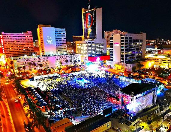 Downtown Las Vegas Events Center aerial view of Offspring and Sublime With Rome Concert