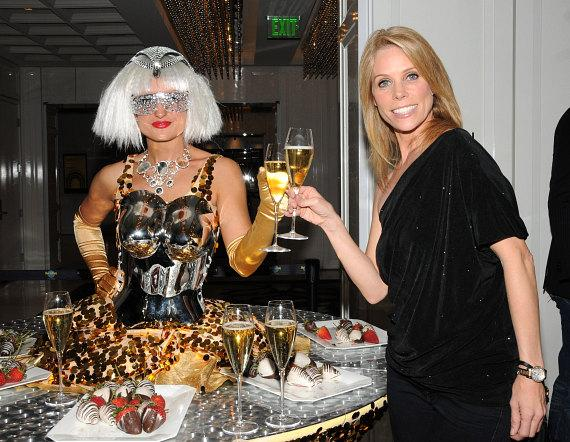 Cheryl Hines with champagne