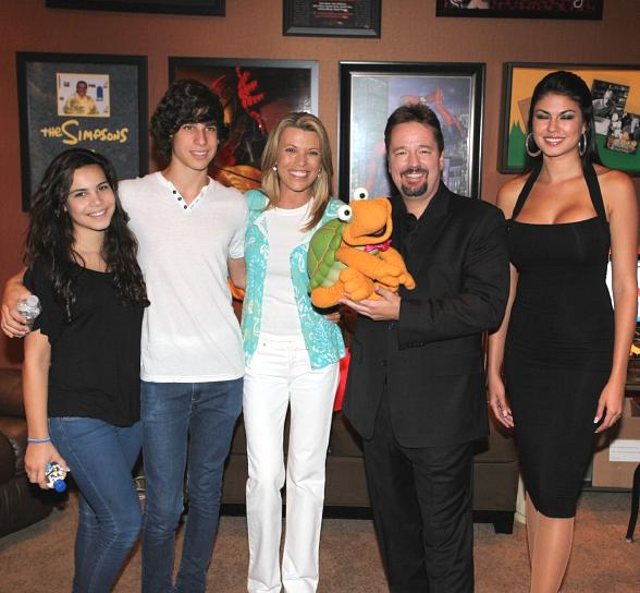 Vanna White, 14-year-old daughter Gigi, 16-year-old son Nikko, Terry Fator, Winston the Impersonating Turtle and Taylor Makakoa