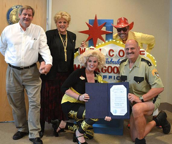 Eric and Jayne Post from Marriage Can Be Murder received a proclamation from Mayor Goodman for 15 Years of performances.