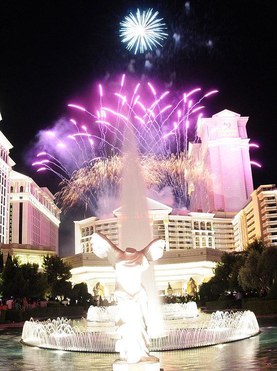 Rooftop fireworks at Caesars Palace on July 7th